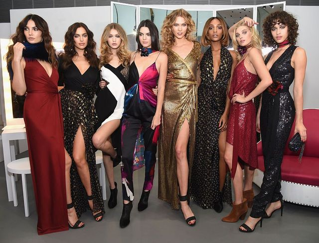 Lily Aldridge, Irina Shayk, Gigi Hadid, Kendall Jenner, Karlie Kloss, Jourdan Dunn, Elsa Hosk and Alanna Arrington pose in the Diane Von Furstenberg Fall 2016 show during New York Fashion Week on February 14, 2016 in New York City. - Getty Images: Jamie McCarthy / Staff