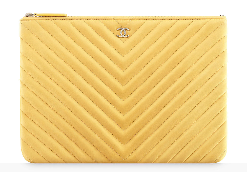 Chanel-Chevron-Leather-Pouch